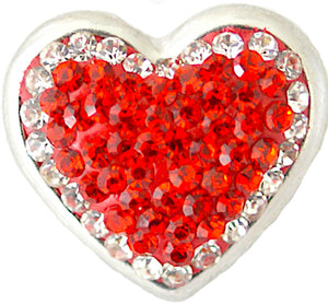 18/20mm Jeweled Red heart Snap