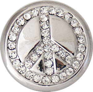 Bling Crystal Peace Sign 18/20mm Snap