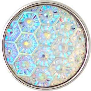 18/20mm Crystal Opalescent Snowflake Pattern Snap