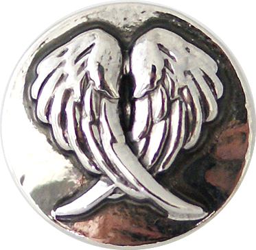 18/20mm Crossed Silver Angel Wings Snap