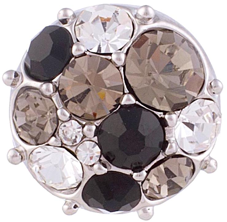 12mm Black & Clear Multi-Shade Silver Base Snap