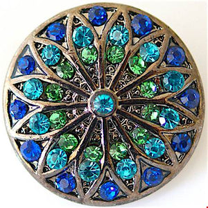 18/20mm Vintage Inspired Blue & Green Crystal Stained Glass Snap