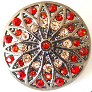 18/20mm Vintage Inspired Red & Orange Crystal Stained Glass Snap