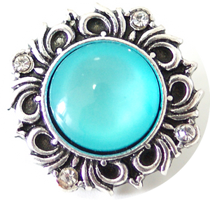 18/20mm Classy Light Blue/Teal W/Clear Crystals Snap