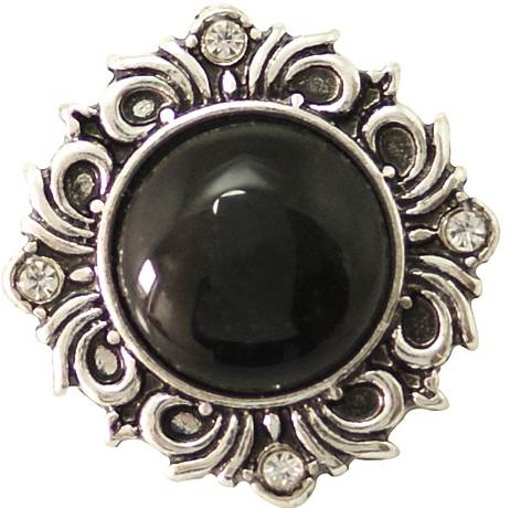 18/20mm Classy Black W/Clear Crystals Snap