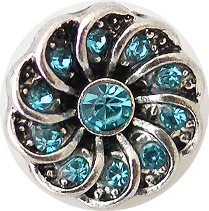 12mm Blue Crystal Swirl Snap