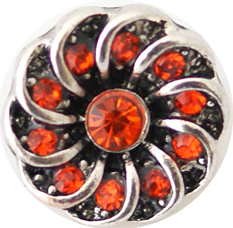 12mm Red Crystal Swirl Snap