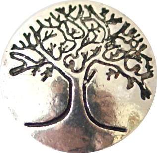 12mm Silver Engraved Tree Of Life Snap
