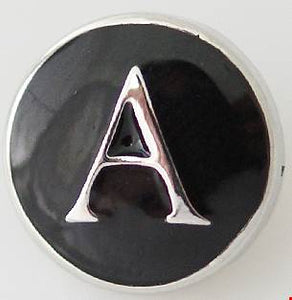 12mm Black With Silver Letter A Snap