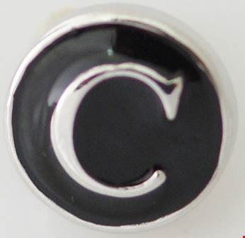 12mm Black With Silver Letter C Snap
