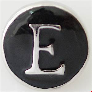 12mm Black With Silver Letter E Snap