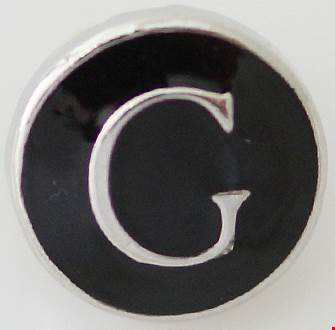 12mm Black With Silver Letter G Snap
