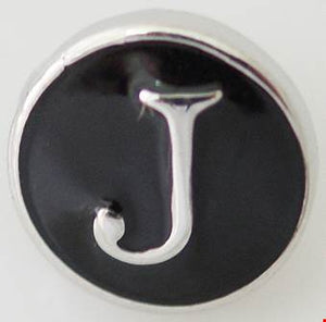 12mm Black With Silver Letter J Snap