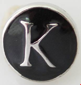 12mm Black With Silver Letter K Snap