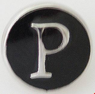 12mm Black With Silver Letter P Snap