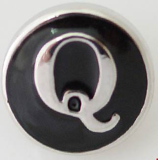 12mm Black With Silver Letter Q Snap
