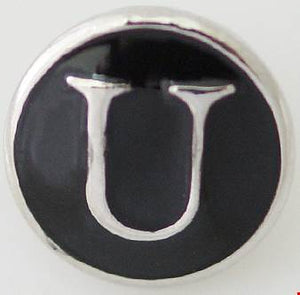 12mm Black With Silver Letter U Snap