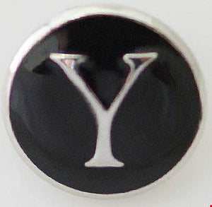 12mm Black With Silver Letter Y Snap