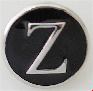 12mm Black With Silver Letter Z Snap