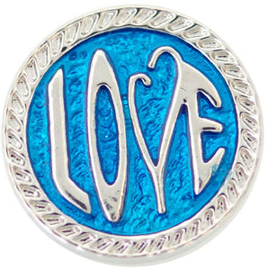 18/20mm Blue & Silver Love Snap