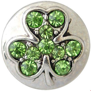 12mm Green Crystal Clover Snap