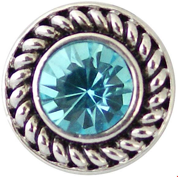 12mm Light Blue Crystal With Dark Silver Swirl Snap