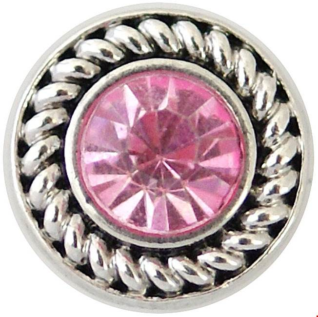 12mm Pink Crystal With Dark Silver Swirl Snap