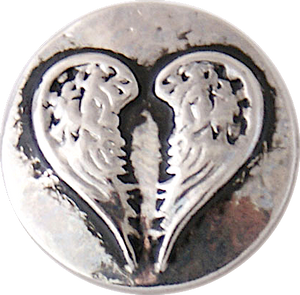 18/20mm Heart Silver Angel Wings Snap