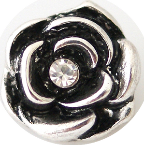 12mm Silver W/Crystal Rose Snap