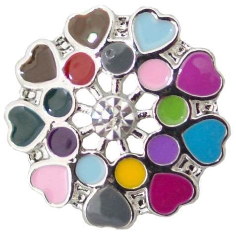 18/20mm Multi Colored Splash of Hearts Snap