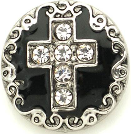 18/20mm Black Enamel with Crystal Cross Snap