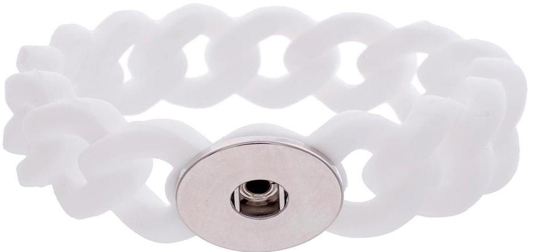 18/20mm Silicone Stretch Single Snap Bracelet - White