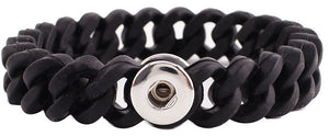 12mm Black Silicone Stretch Bracelet