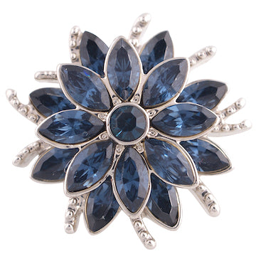 18/20mm Deep Blue Crystals Silver Swirl Snap