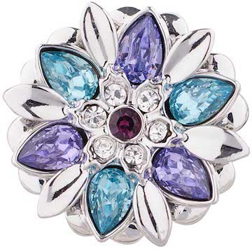 18/20mm Beautiful Silver Base Flower with Blue & Purple Rhinestone Accents Snap