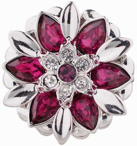 18/20mm Dark Pink Crystal Flower Snap