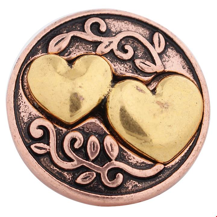 18/20mm Rose Gold With Double Gold Hearts Snap