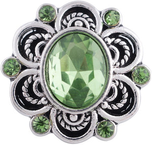 18/20mm Green Oval Crystal Vintage Inspired Snap