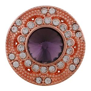18/20mm Rose Gold With Clear & Purple Crystals Snap