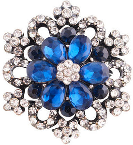 18/20mm Blue & Clear Crystal Bling Snap
