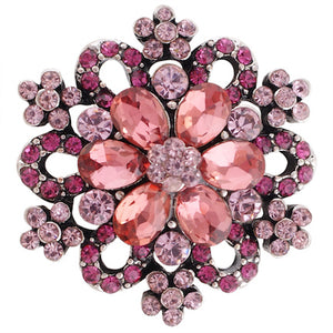 18/20mm Pink Crystal Bling Snap