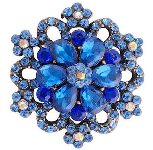 18/20mm Blue Crystal Bling Snap