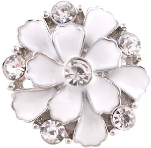 18/20mm White & Clear Crystals Flower Snap