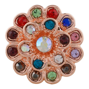 18/20mm Rose Gold Colorful Crystal Snap