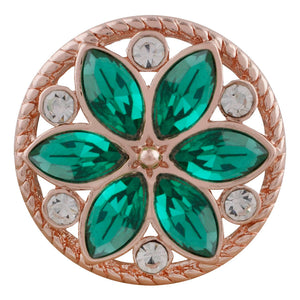 18/20mm Rose Gold & Green Crystal Flower Snap