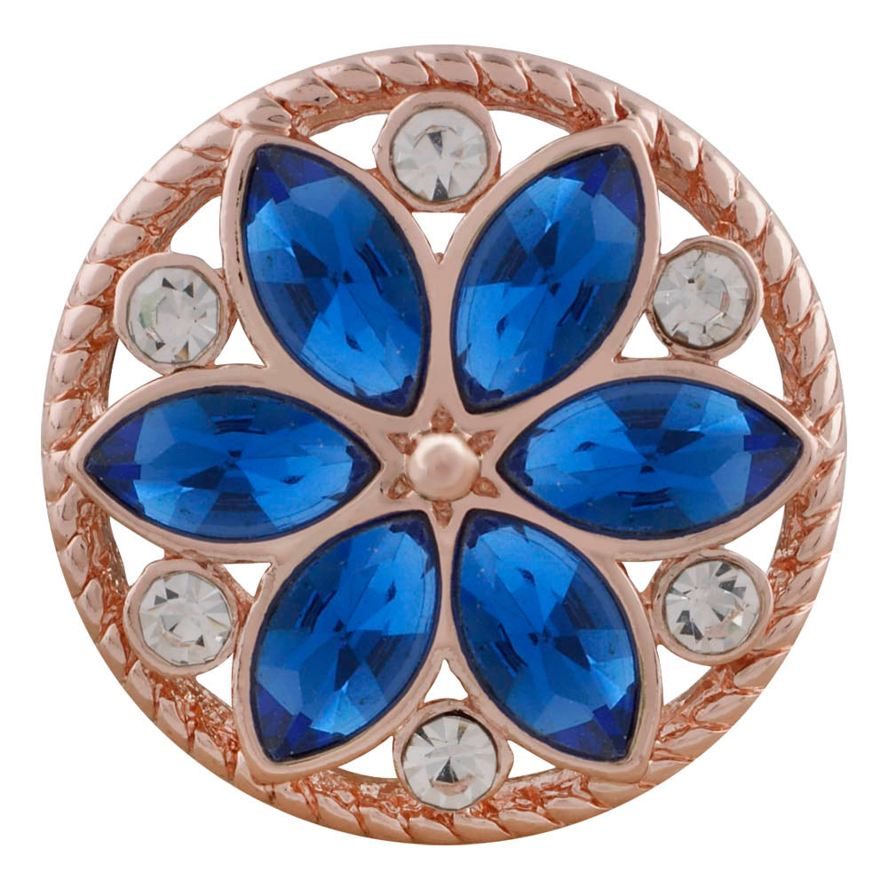 18/20mm Rose Gold & Deep Blue Crystal Flower Snap