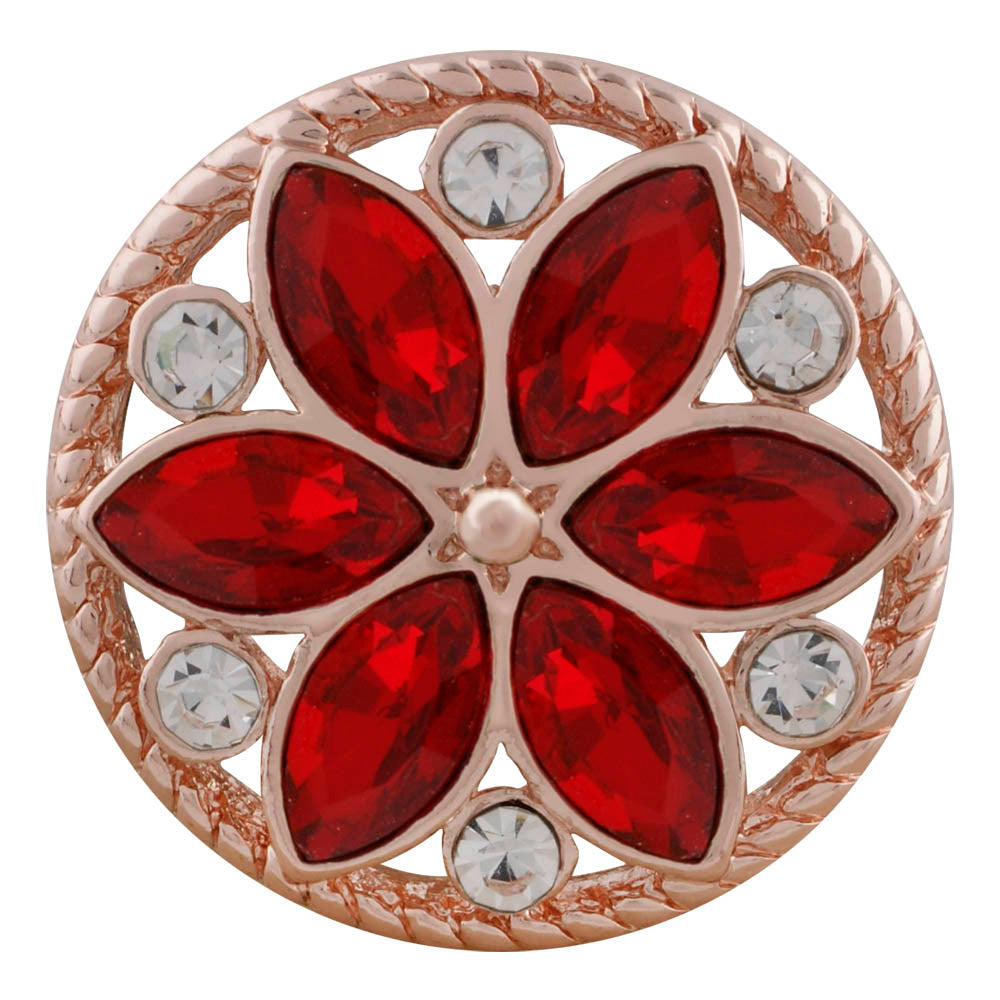 18/20mm Rose Gold & Deep Red Crystal Flower Snap