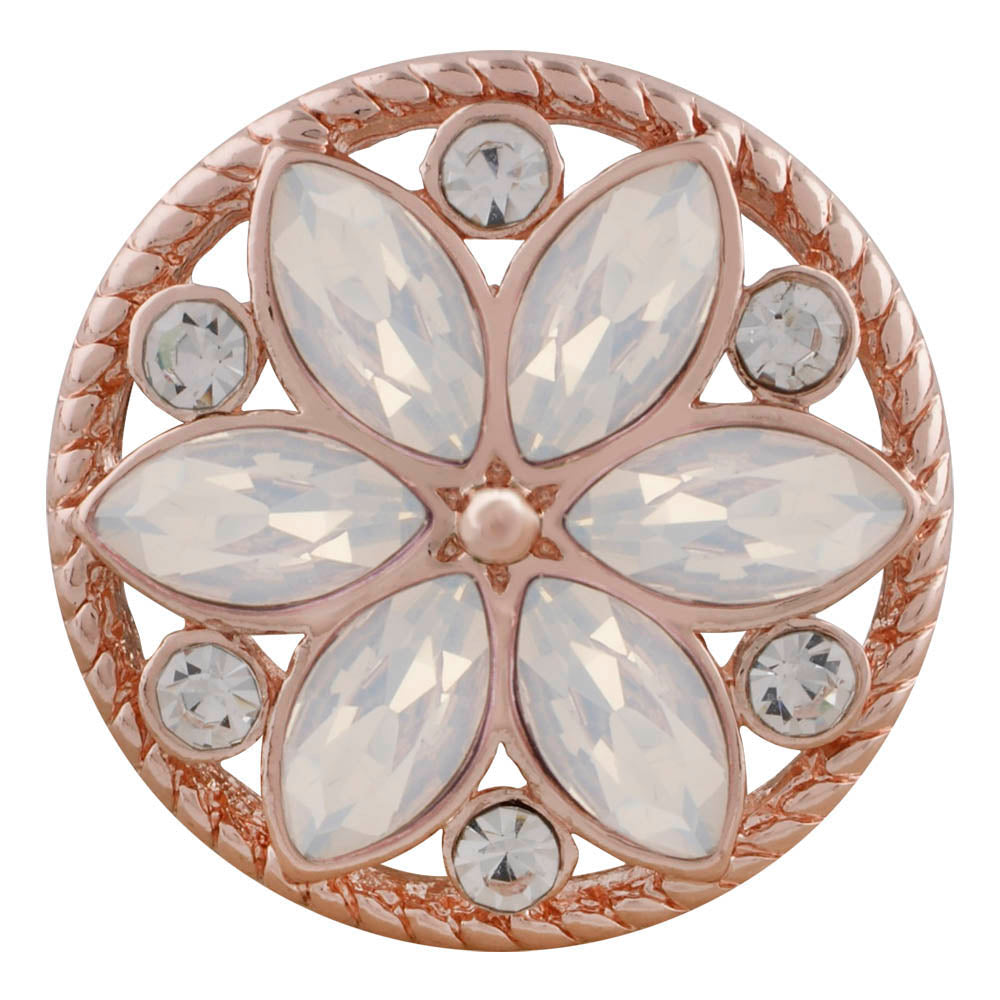 18/20mm Rose Gold & White Crystal Flower Snap
