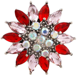 18/20mm Red & Pink Vibrant Crystal Flower Snap