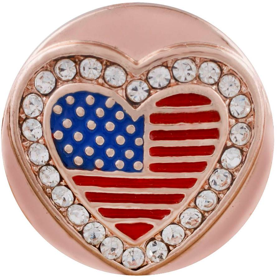 18/20mm  Rose Gold & Crystal Bling Flag Snap
